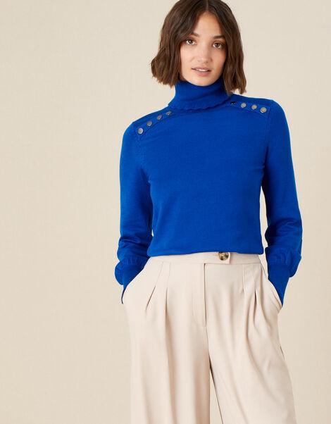 Studded High Neck Jumper Blue, Blue (COBALT), large