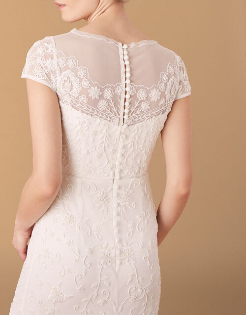 Sophie Beaded Floral Bridal Dress, Ivory (IVORY), large