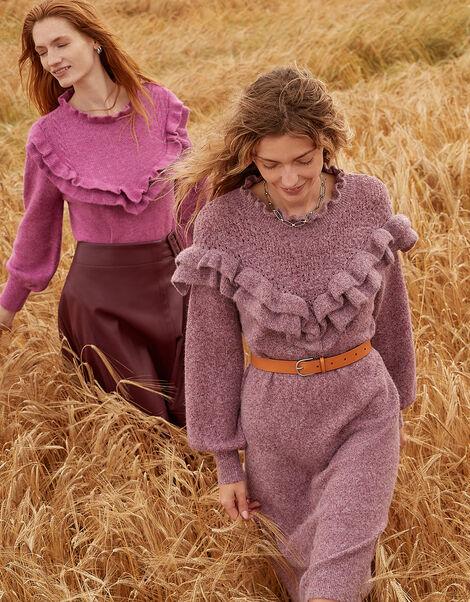 Ruffle Detail High Neck Dress  Purple, Purple (PURPLE), large
