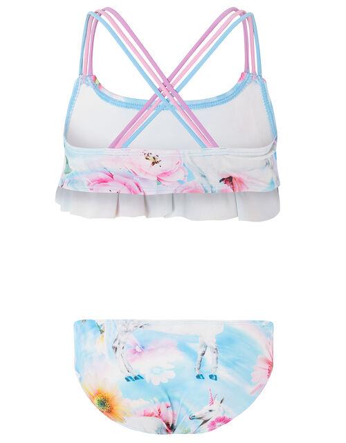 Unicorn Rainbow Frill Bikini Set, Blue (BLUE), large