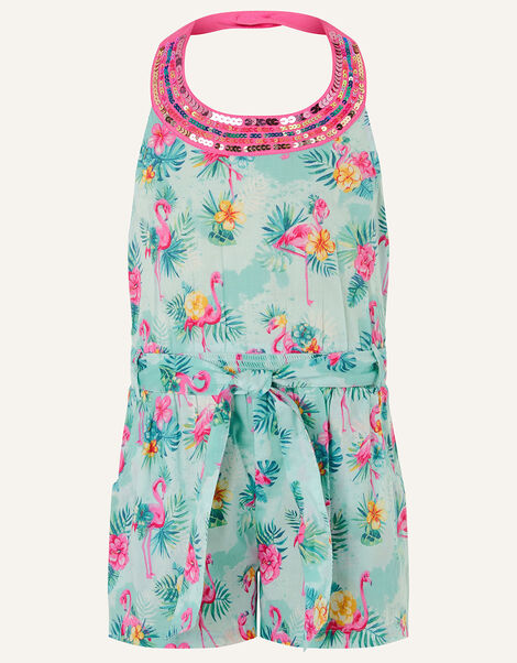 Flamingo Playsuit in Organic Cotton Blue, Blue (AQUA), large