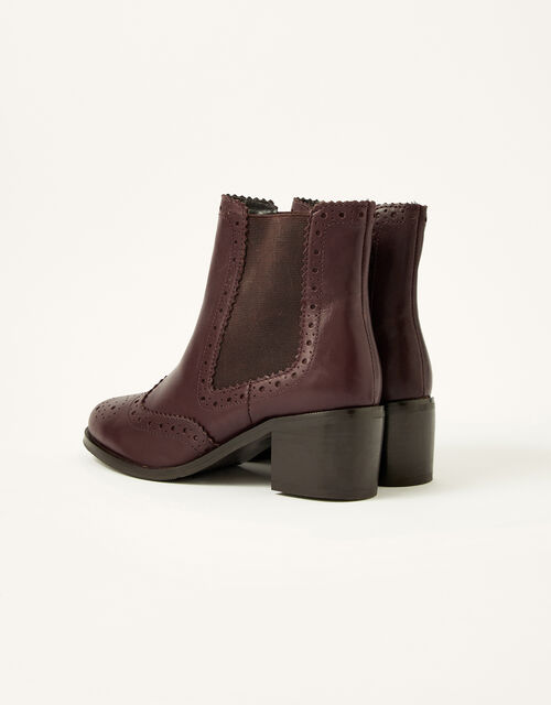 Layla Brogue Leather Ankle Boots, Brown (CHOCOLATE), large