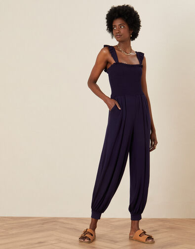 Holly Jersey Hareem Jumpsuit Blue, Blue (NAVY), large