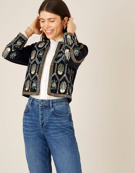 Embroidered Cropped Jacket with Organic Cotton  Black, Black (BLACK), large