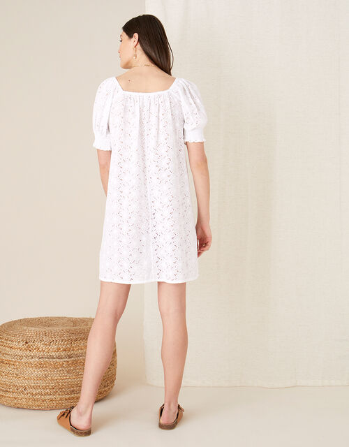 Broderie Square Neck Dress, White (WHITE), large