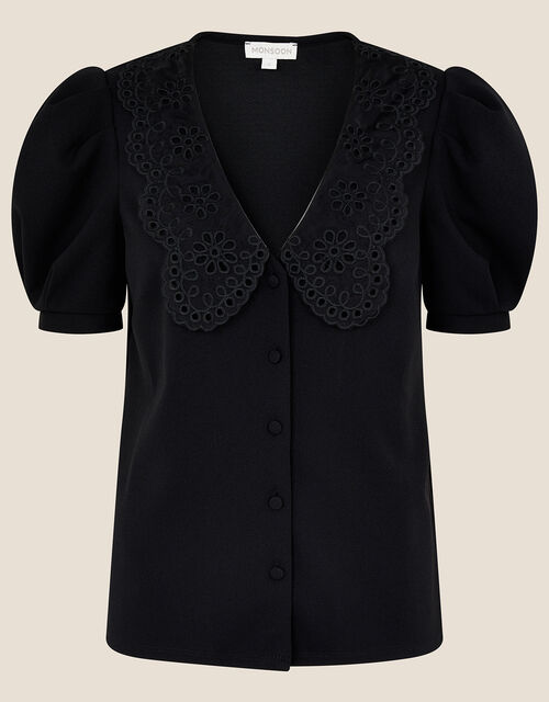 Ollie Lace Collar Puff Sleeve Top, Black (BLACK), large