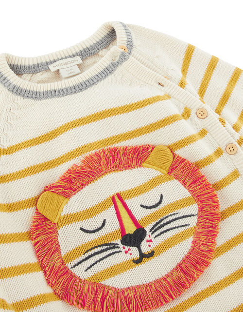 Newborn Baby Lion and Stripe Knit Set, Yellow (MUSTARD), large