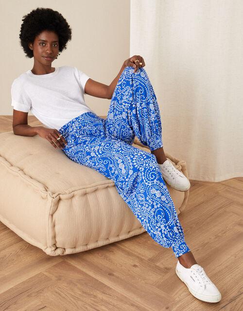 Paisley Print Hareem Trousers, Blue (BLUE), large