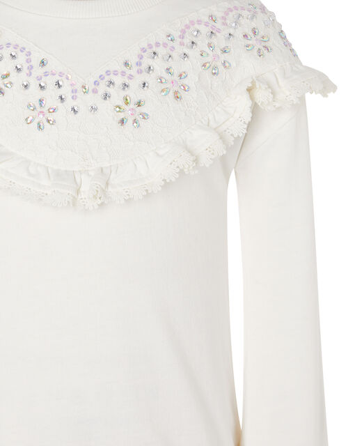 Lace and Gem Sweatshirt, Ivory (IVORY), large