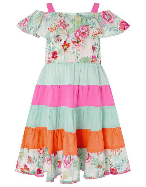 Bettie Floral Colour-Block Dress, Blue (TURQUOISE), large