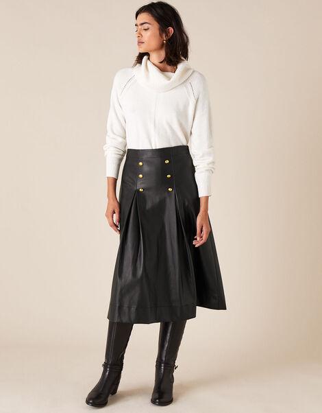 Gold Button Leather-Look Skirt Black, Black (BLACK), large