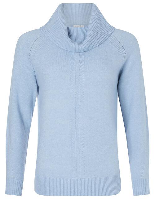 Cowl Neck Raglan Stitch Knit Jumper, Blue (BLUE), large