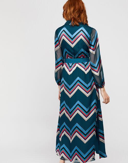 Fearne Chevron Burnout Maxi Dress, Teal, large