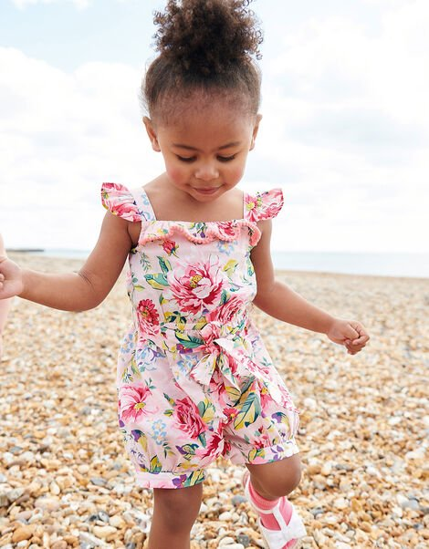 Baby Floral Romper in Pure Cotton Pink, Pink (PALE PINK), large