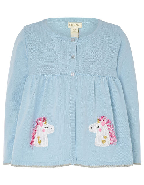 Baby Unicorn Cardigan in Pure Cotton, Blue (BLUE), large