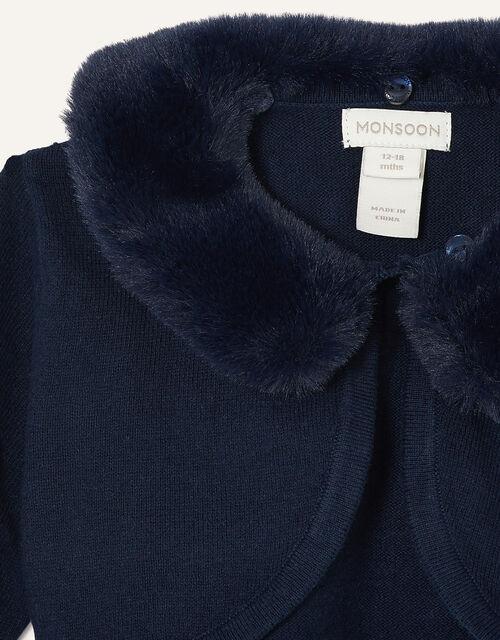 Baby Fluffy Collar Super-Soft Cardigan, Blue (NAVY), large