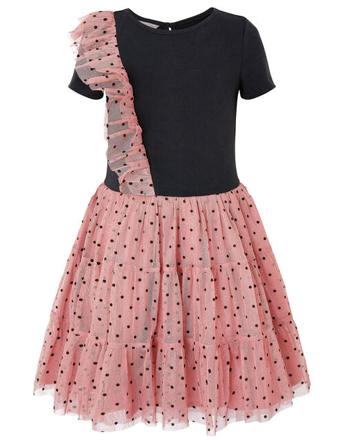 Disco Flock Spot 2-in-1 Dress, Pink (PINK), large