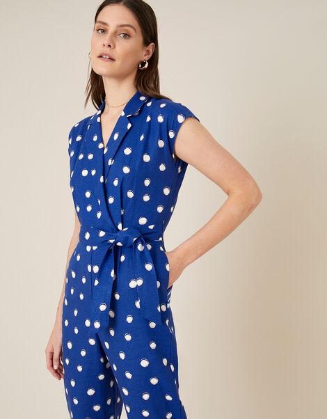 Spot Print Jumpsuit in Linen Blend  Blue, Blue (NAVY), large