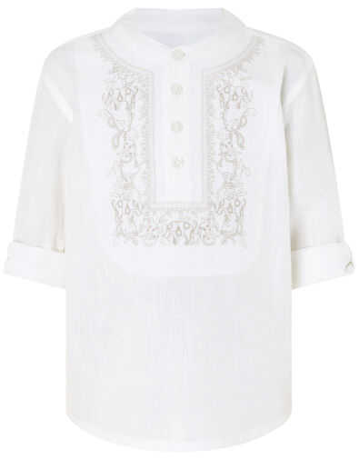 Kurta Embroidered Shirt in Pure Cotton Ivory, Ivory (IVORY), large