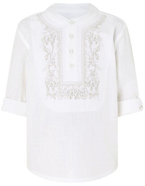 Kurta Embroidered Shirt in Pure Cotton Ivory, Ivory (IVORY), large