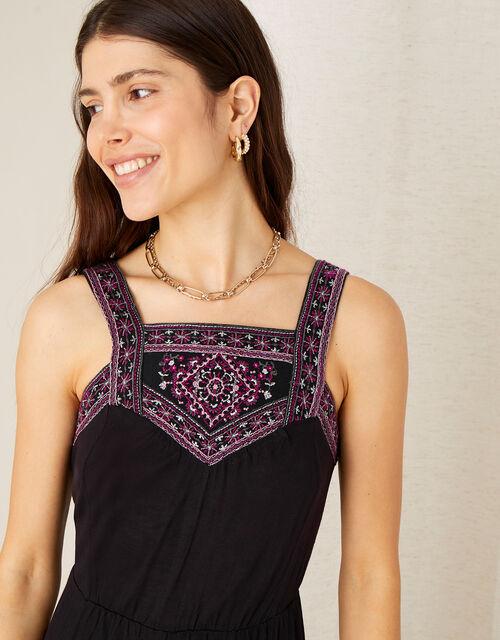 Embroidered Jersey Hanky Hem Dress , Black (BLACK), large