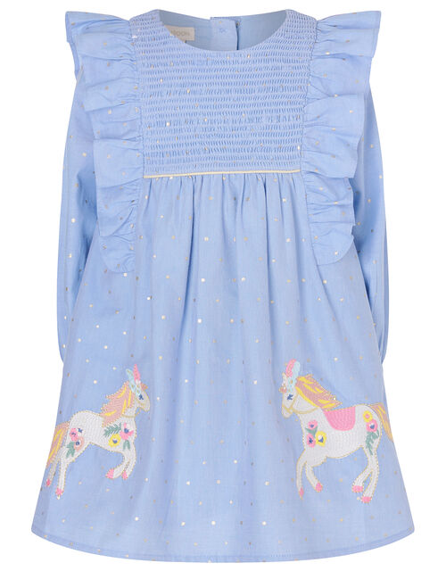 Baby Horse Foil Spot Chambray Dress, Blue (BLUE), large