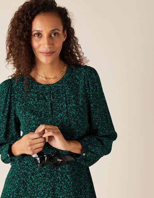 Animal Print Midi Dress in LENZING™ ECOVERO™, Green (DARK GREEN), large