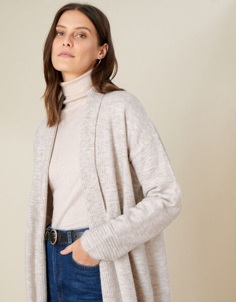 Maxi Cardigan in Wool Blend Camel, Camel (OATMEAL), large