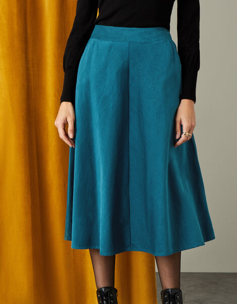 Cord Circle Midi Skirt  Teal, Teal (TEAL), large