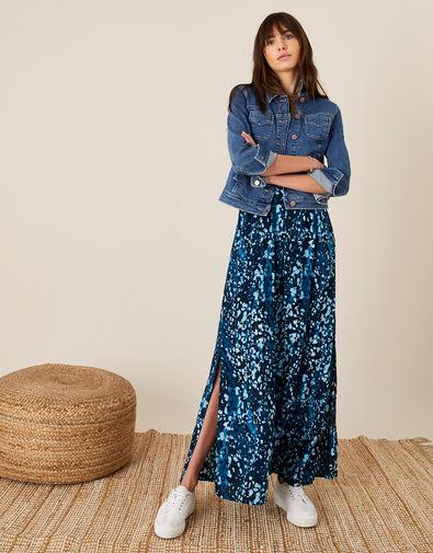 Animal Print Bandeau Dress Blue, Blue (BLUE), large