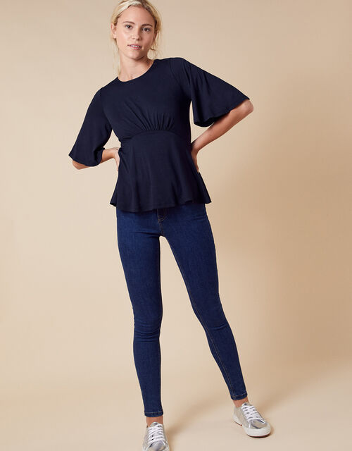 Dolly Flute Sleeve Jersey Top, Blue (NAVY), large