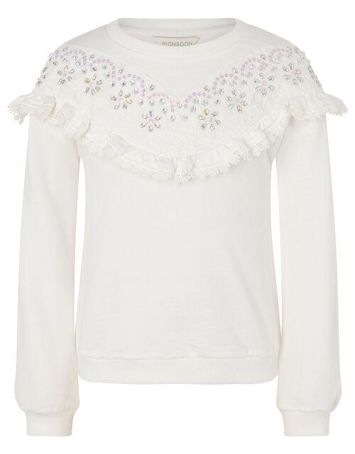 Lace and Gem Sweatshirt, Ivory (IVORY), large