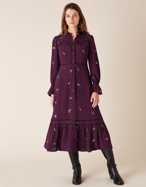 Embellished Long Sleeve Midi Dress, Purple (PURPLE), large