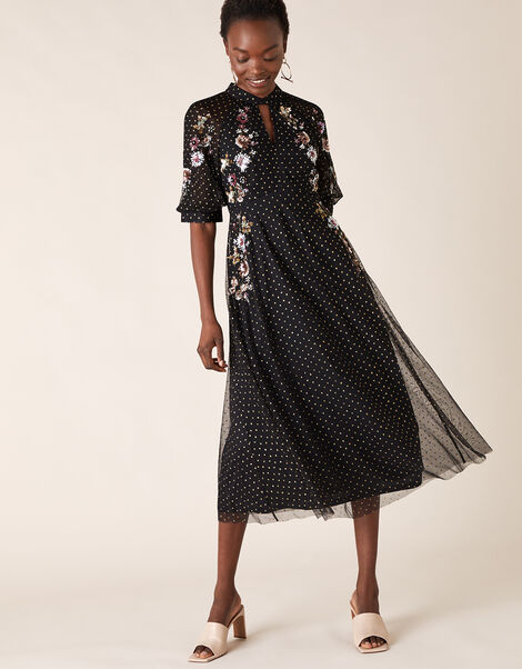 Gwenevere Glitter Floral Sequin Dress in Recycled Fabric Black, Black (BLACK), large