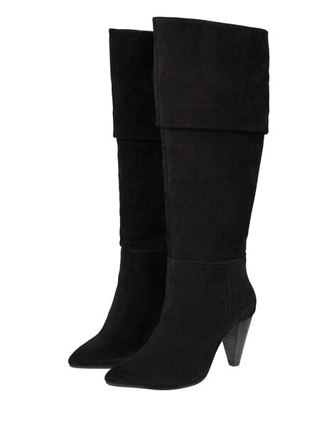 Slouch Suede Thigh Boots Black, Black (BLACK), large