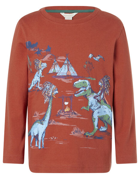 Dinosaur Long-Sleeve T-shirt Red, Red (RED), large
