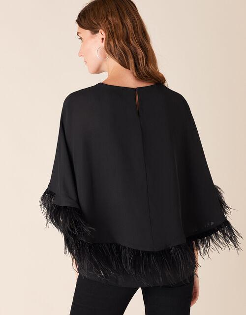 Fiammetta Feather Cape Top, Black (BLACK), large