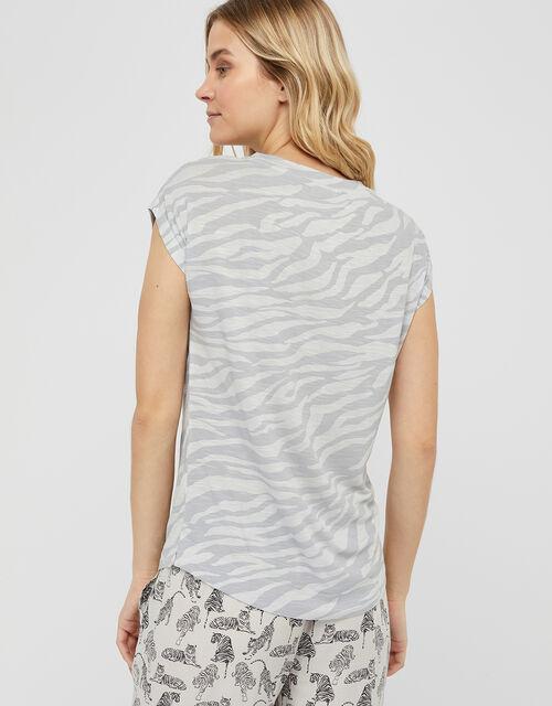 Tegan Animal Jersey Pyjama Top, Grey, large