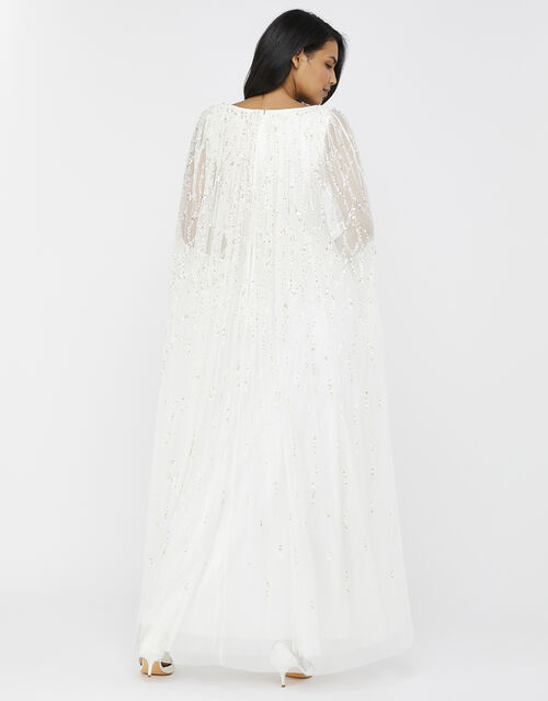 Naomi Embellished Cape Bridal Gown, Ivory (IVORY), large