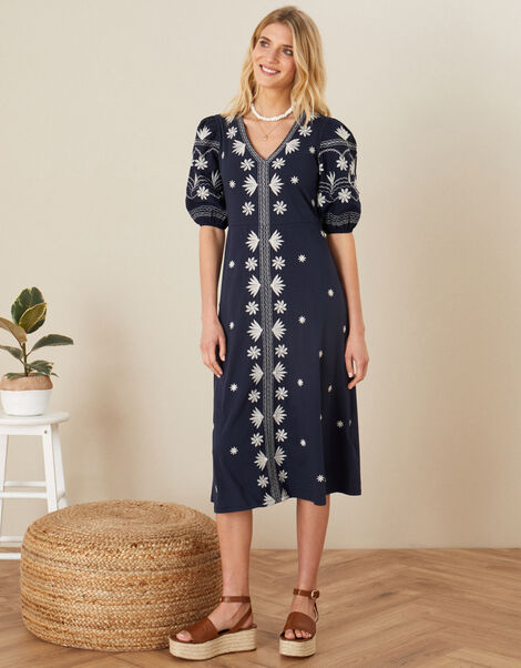 Emma Embroidered Jersey Dress  Blue, Blue (NAVY), large