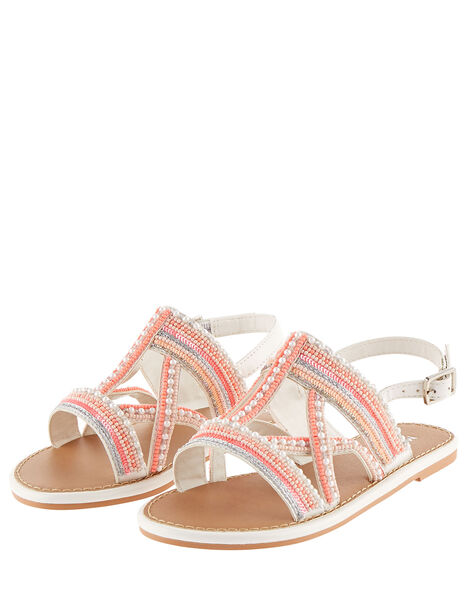 Cross Strap Beaded Sandals  Pink, Pink (PINK), large