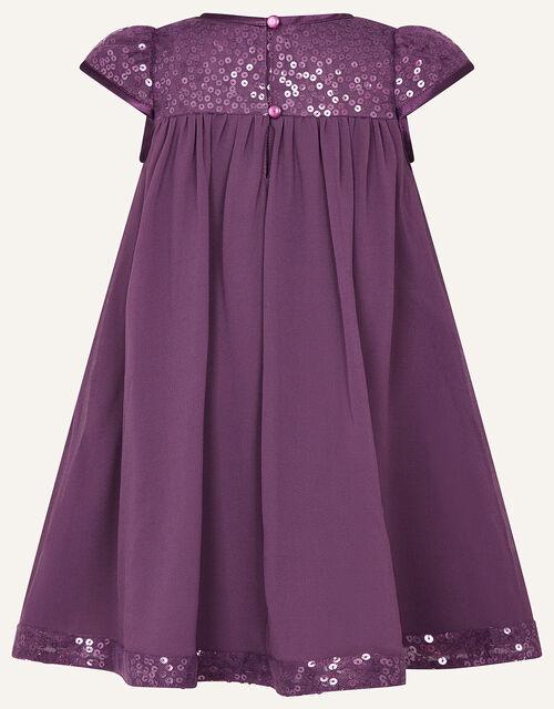 Baby Sequin Sleeve Dress , Purple (PURPLE), large