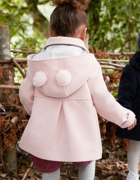 Baby Pom-Pom Hooded Coat Pink, Pink (PALE PINK), large