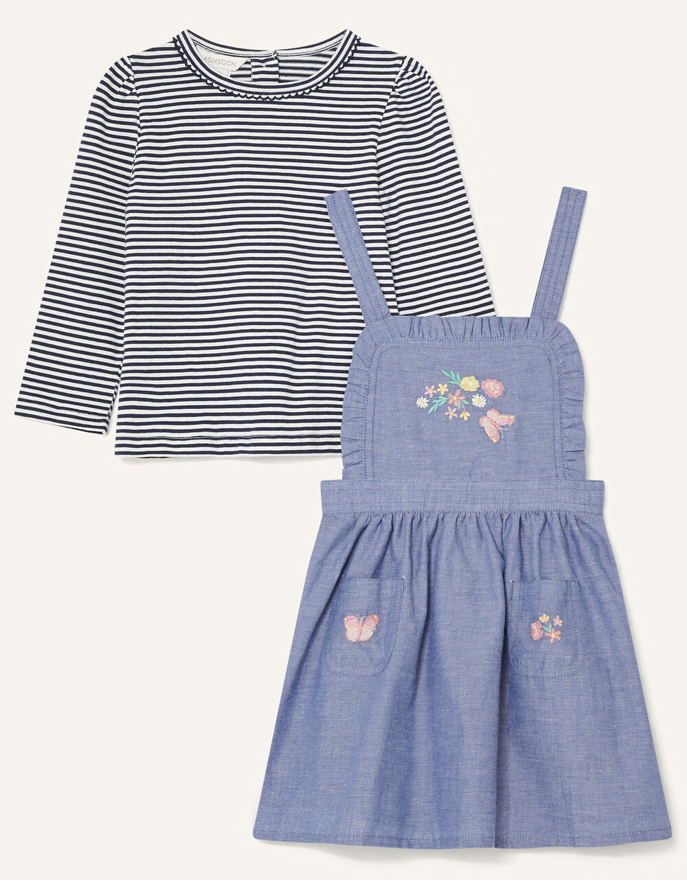 Baby Butterfly Pinny and Top, Blue (BLUE), large