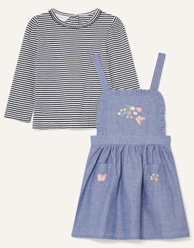 Baby Butterfly Pinny and Top Blue, Blue (BLUE), large