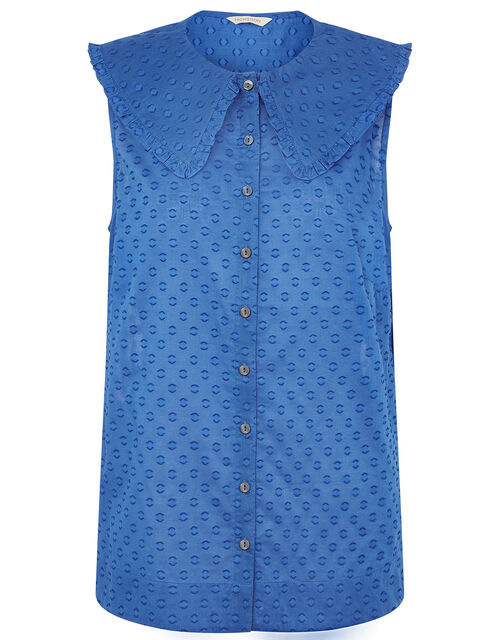 Dobby Top in Organic Cotton , Blue (BLUE), large