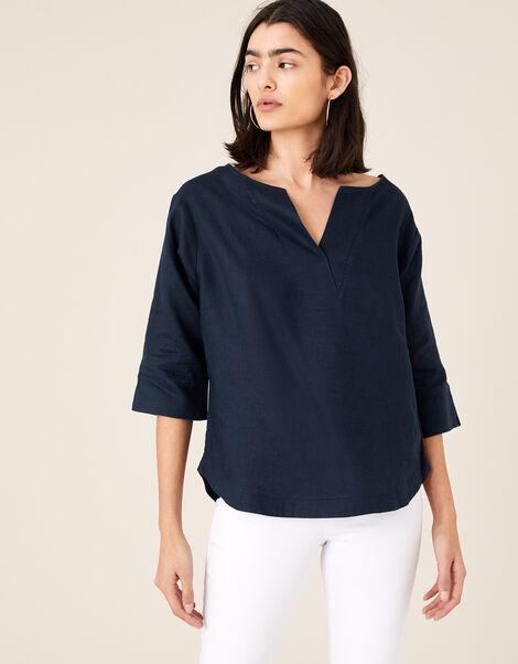 Daisy Plain T-Shirt in Pure Linen Blue, Blue (NAVY), large