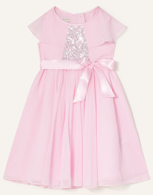 Baby Sequin Cape Sleeve Dress , Pink (PINK), large