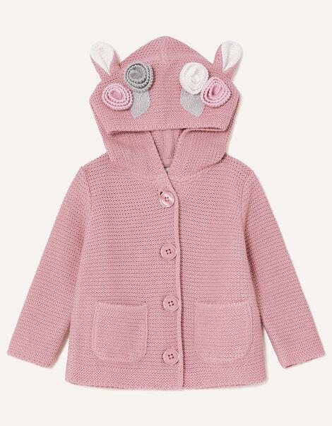 Newborn 3D Floral Hooded Cardigan Pink, Pink (PINK), large