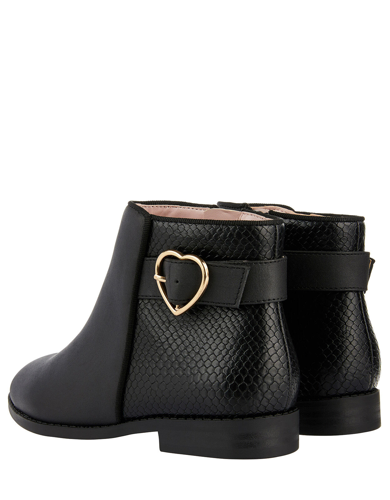 Mona Heart Buckle Ankle Boots Black